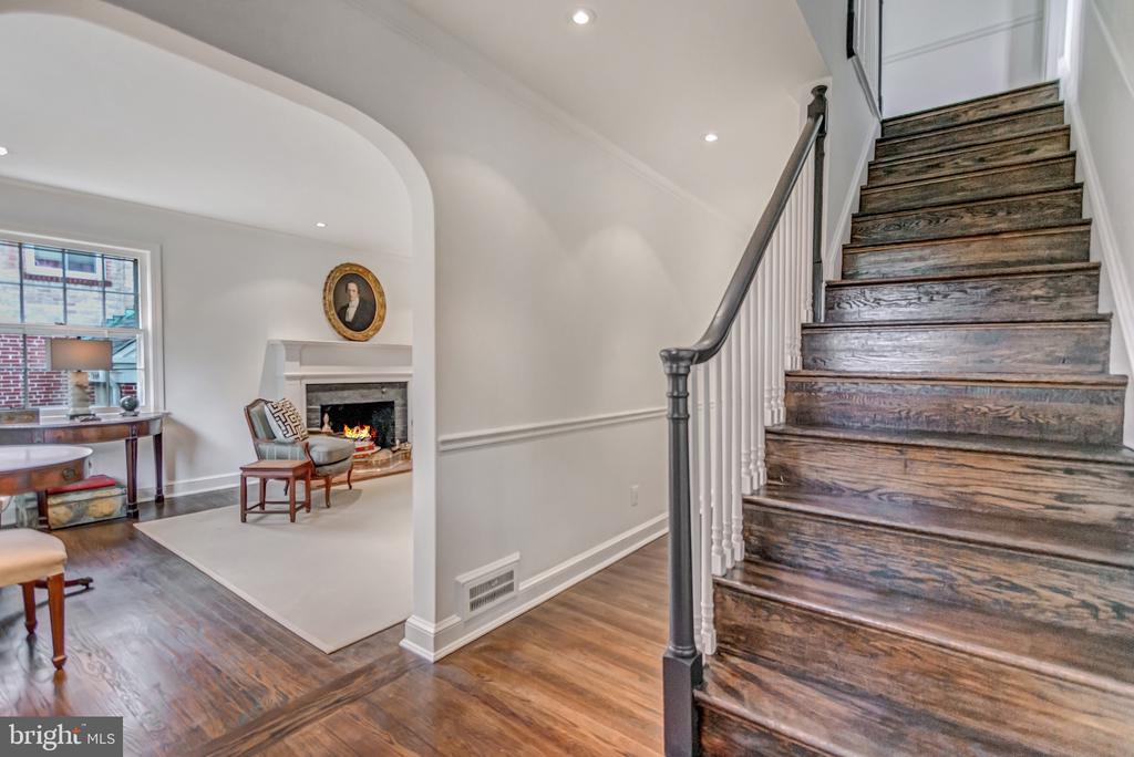 Stairs lead to the bedroom level - 7007 CONNECTICUT AVE, CHEVY CHASE