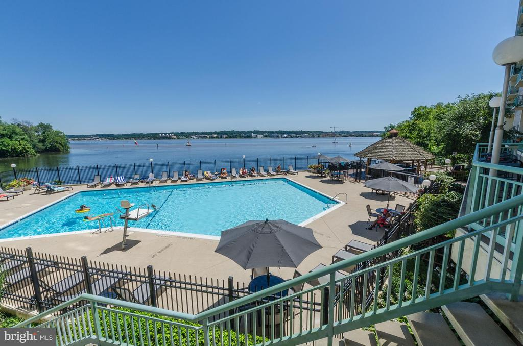 View of the pool from back lobby balcony - 501 SLATERS LN #823, ALEXANDRIA