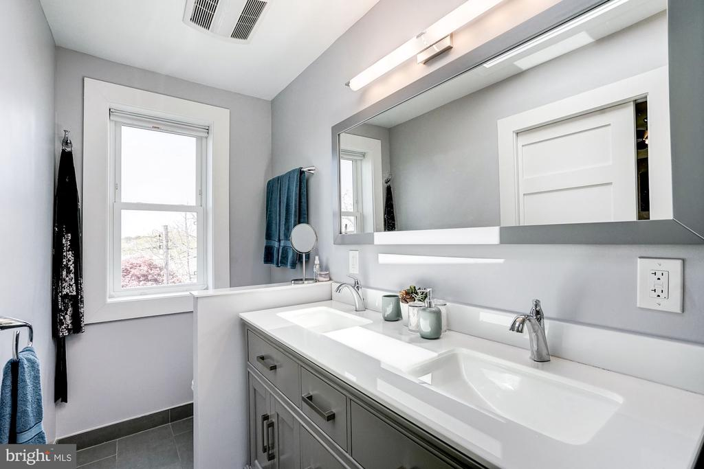 Dual vanity in both second floor baths. - 4604 9TH ST NW, WASHINGTON