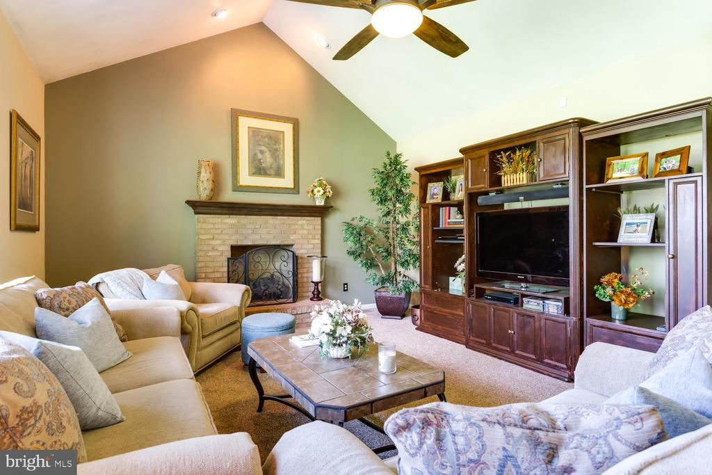 Family room with fireplace, vaulted ceiling - 10892 HUNTER GATE WAY, RESTON