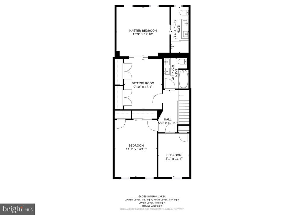 Second Level Floor Plan - 4604 9TH ST NW, WASHINGTON