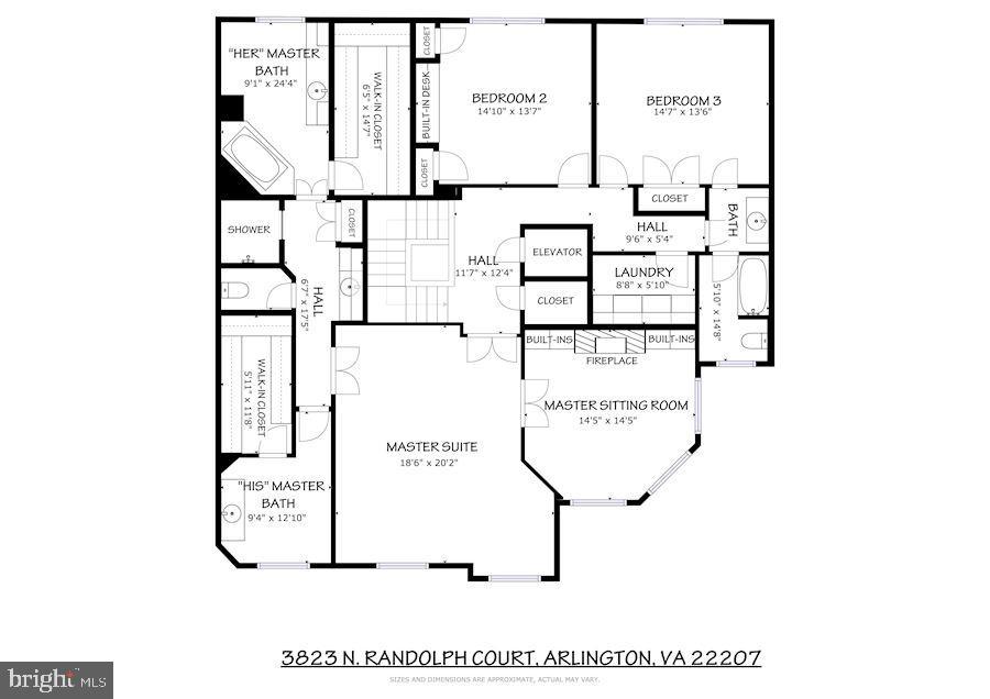 Upper Level Floor Plan - 3823 N RANDOLPH CT, ARLINGTON