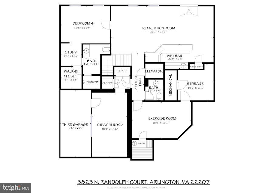 Main Level Floor Plan - 3823 N RANDOLPH CT, ARLINGTON