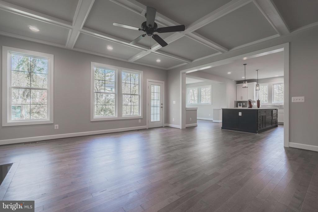 Huge family room with coffered ceiling and fan - 8604 NORFOLK AVE, ANNANDALE