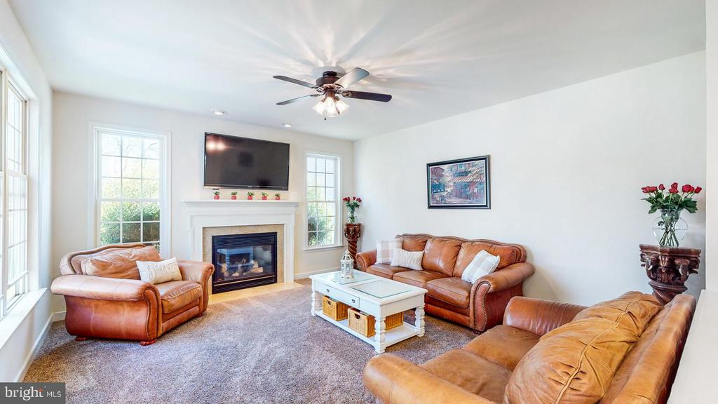 Family room with fireplace - 31 CRAWFORD LN, STAFFORD