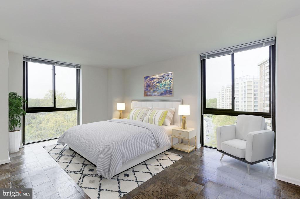 Owner's Bedroom Virtually Staged - 4620 N PARK AVE #1005E, CHEVY CHASE