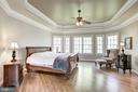 Master bedroom with tray ceiling and natural light - 40989 GRENATA PRESERVE PL, LEESBURG