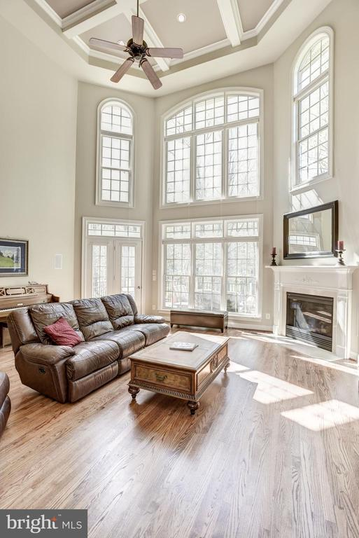 2 story Family room with coffered ceiling - 40989 GRENATA PRESERVE PL, LEESBURG