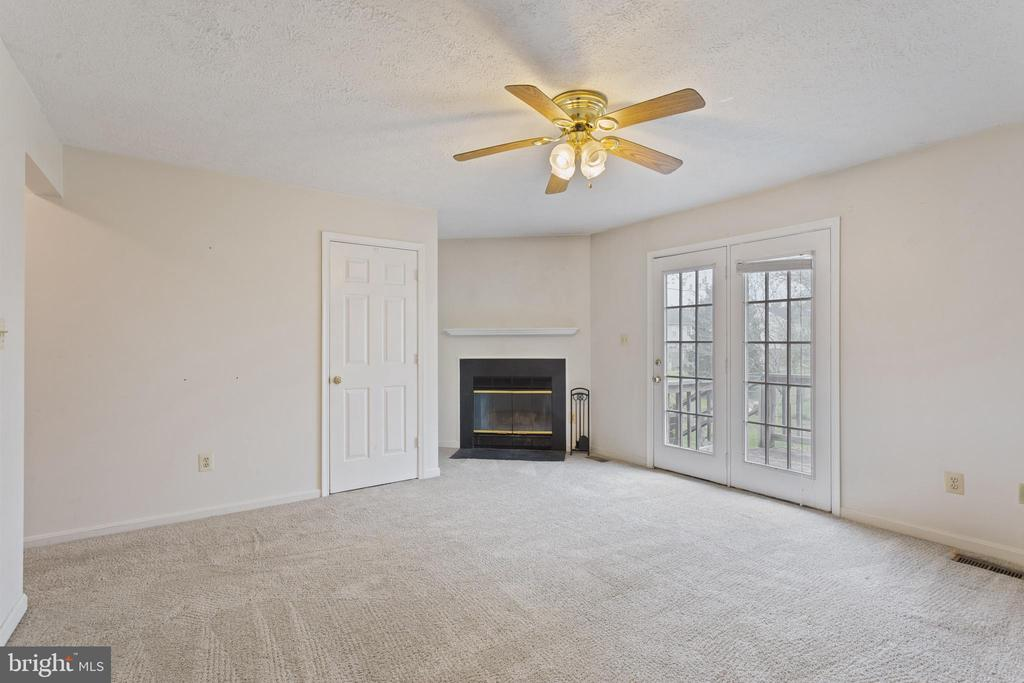 The living room includes a wood-burning fireplace - 217 GEORGETOWNE CT, STEPHENS CITY