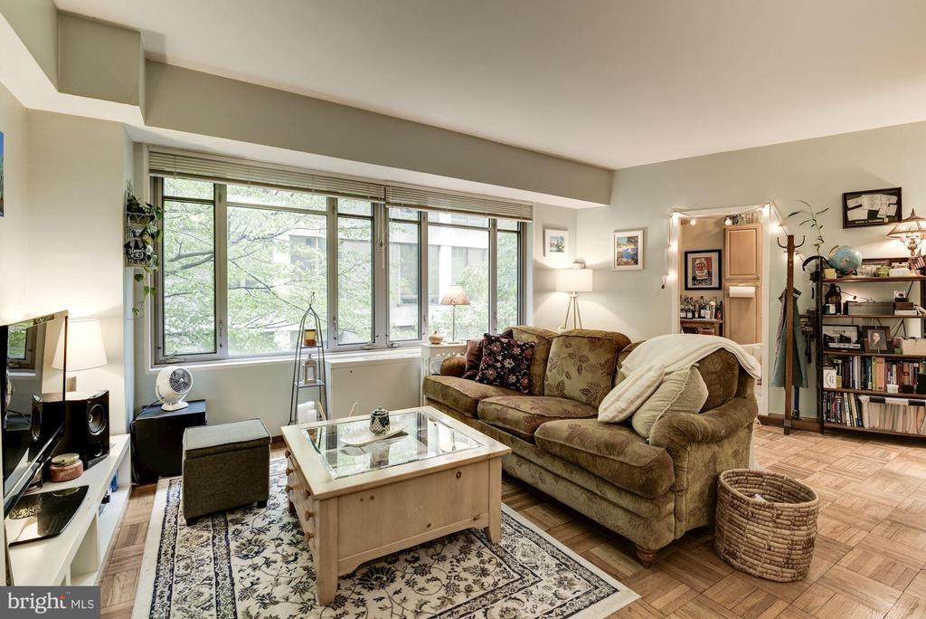 Living Room w/ Wall of Windows - 1711 MASSACHUSETTS AVE NW #214, WASHINGTON