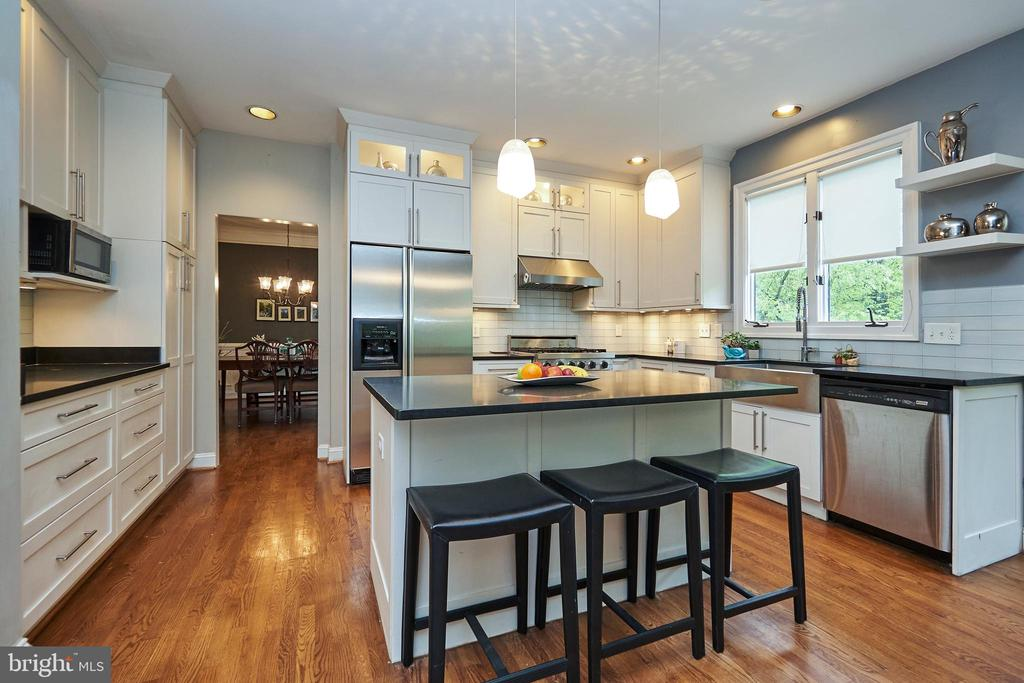 Kitchen with Lighted Cabinets and Pendants - 5809 MAGNOLIA LN, FALLS CHURCH