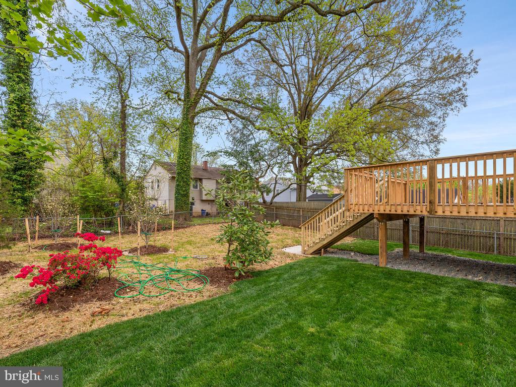 Deck looks out on existing trees and new plantings - 1211 BARBUD LN, ANNAPOLIS