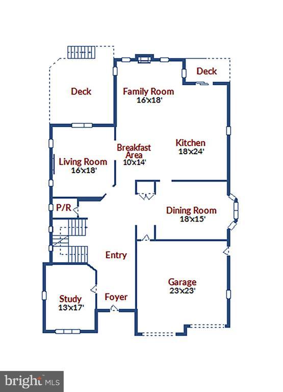 Main Level Floorplan - 315 WINDOVER AVE NW, VIENNA