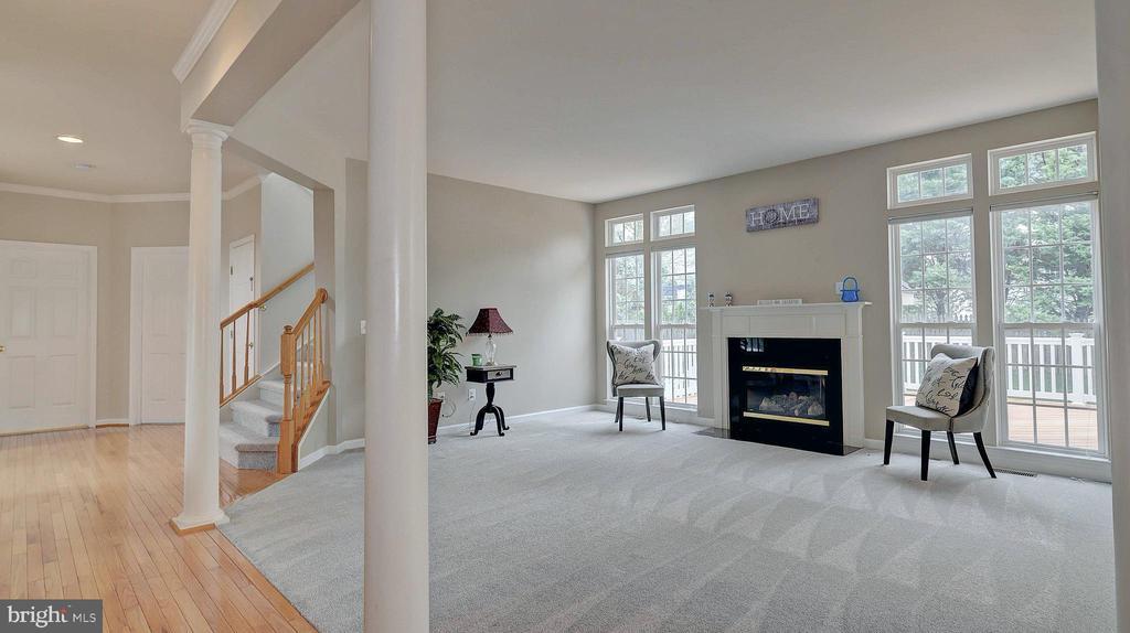 Family Room, decorative columns - 43262 LECROY CIR, LEESBURG