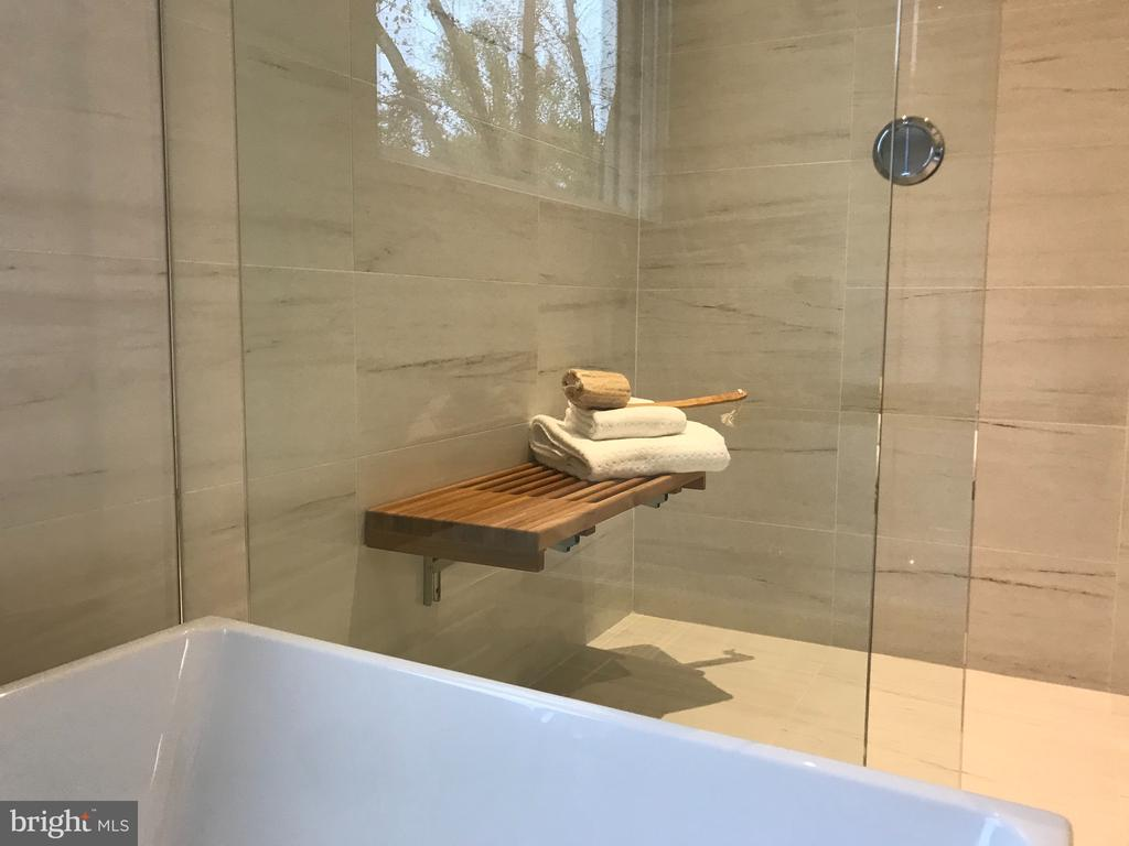 Master shower - folding teak bench - 114 TAPAWINGO RD SW, VIENNA