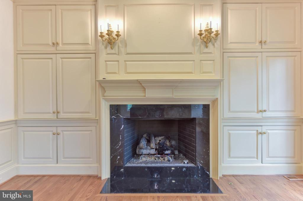 Gas Fireplace and wall of Built-ins in Family Room - 3823 N RANDOLPH CT, ARLINGTON