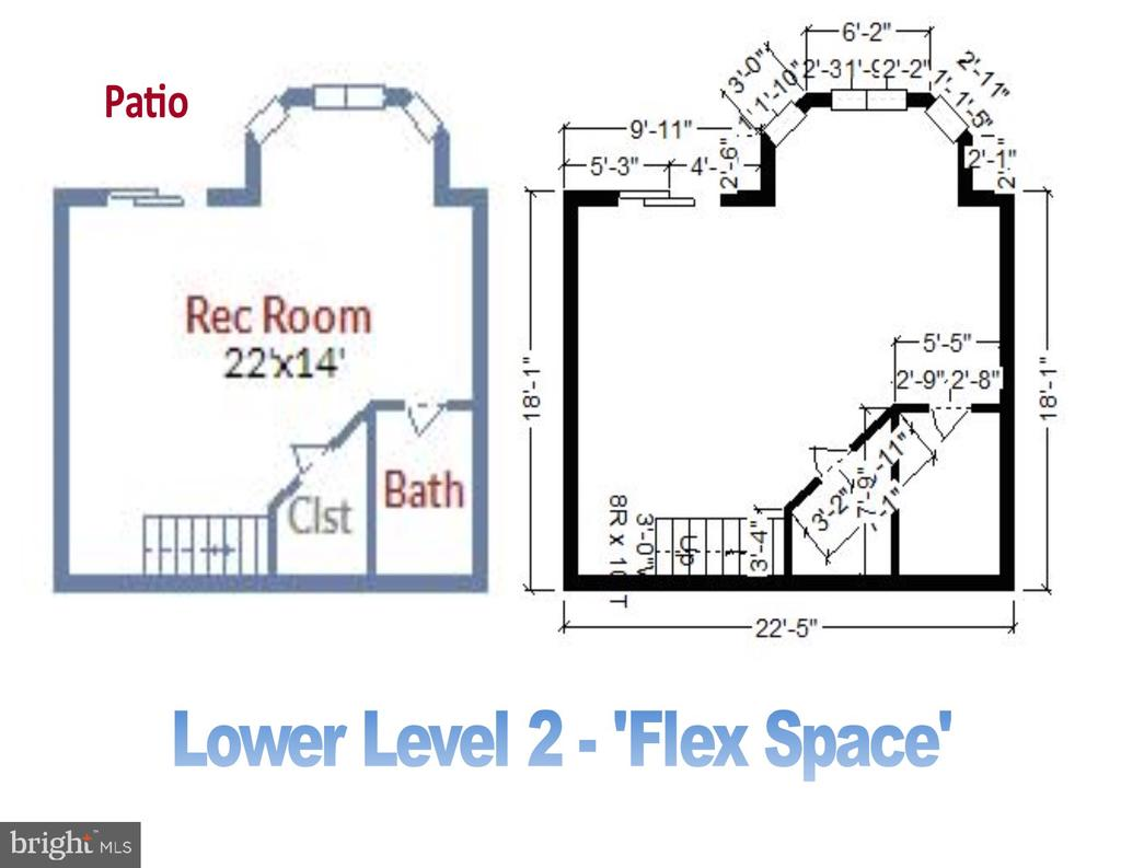 Lower Level 2 - Floorplan and Room Dimensions - 1911 LOGAN MANOR DR, RESTON
