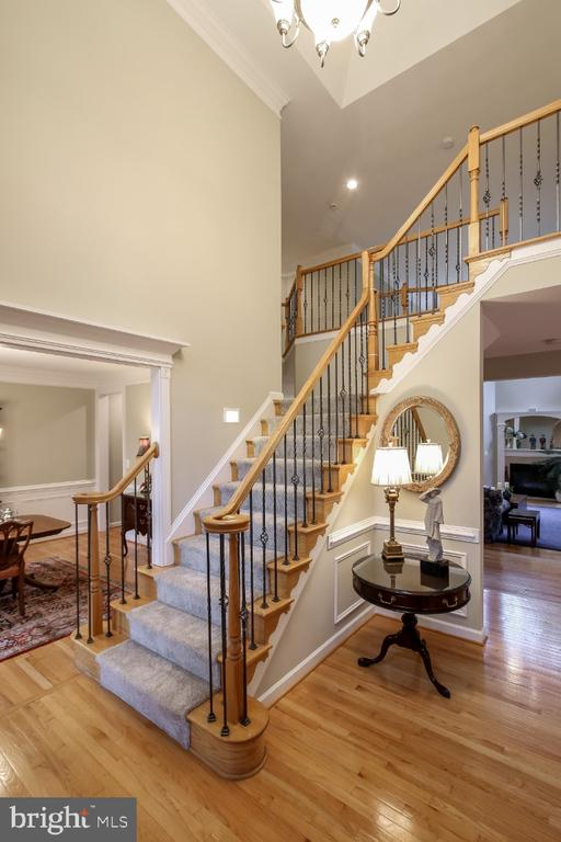 Two story foyer, oak & wrought iron staircase - 16917 OLD SAWMILL RD, WOODBINE