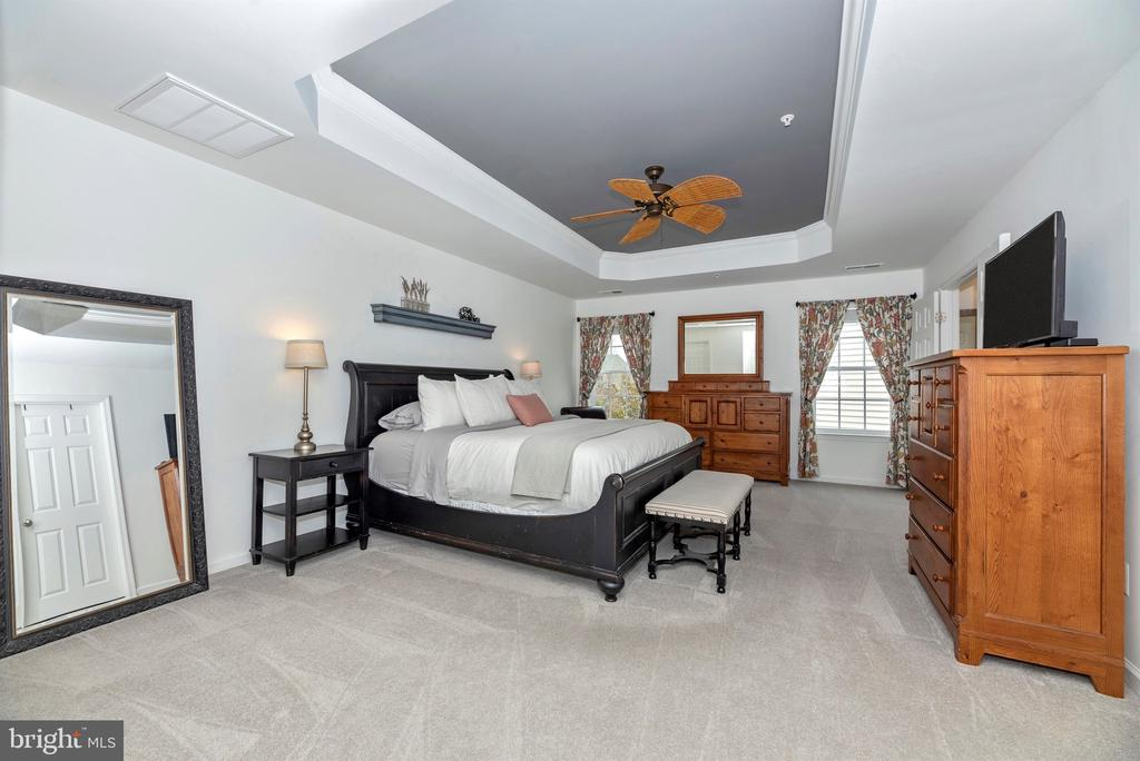 Master bedroom with tray ceilings - 9823 NOTTING HILL DR, FREDERICK