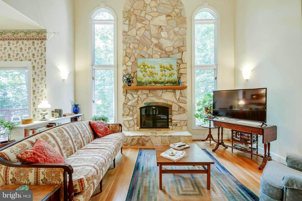 Family Room - Wood Burning Stone Fireplace! - 12210 GLADE DR, FREDERICKSBURG