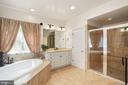 Deep oval soaking tub and glassed-in shower w/seat - 2976 TROUSSEAU LN, OAKTON