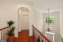 Wide Upper Hallway with Brazilian Cherry Hardwood - 2976 TROUSSEAU LN, OAKTON