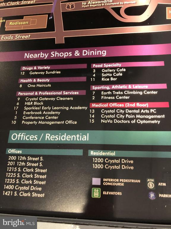 Crystal City Directory of Retail/Offices - 1300 CRYSTAL DR #PH14S, ARLINGTON