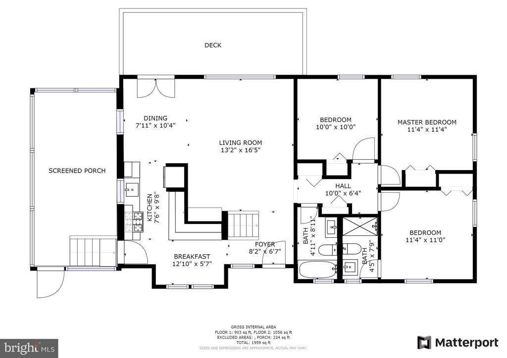 Upper level floor plan~rendering - 2612 HILLSMAN ST, FALLS CHURCH