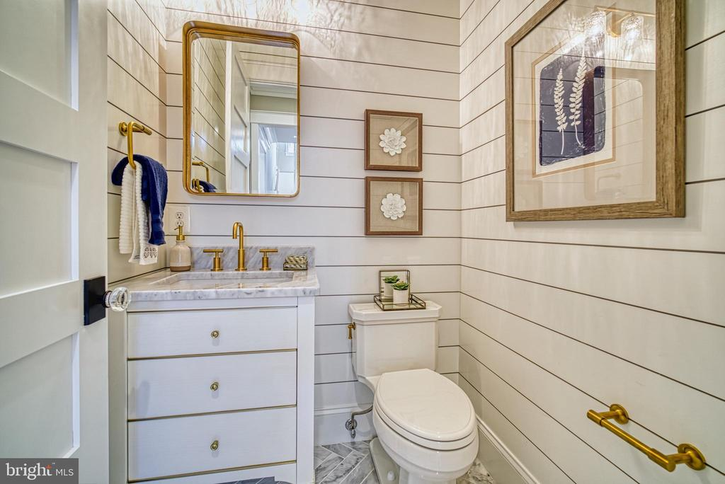 Powder room with shiplap walls - 3511 N POTOMAC ST, ARLINGTON