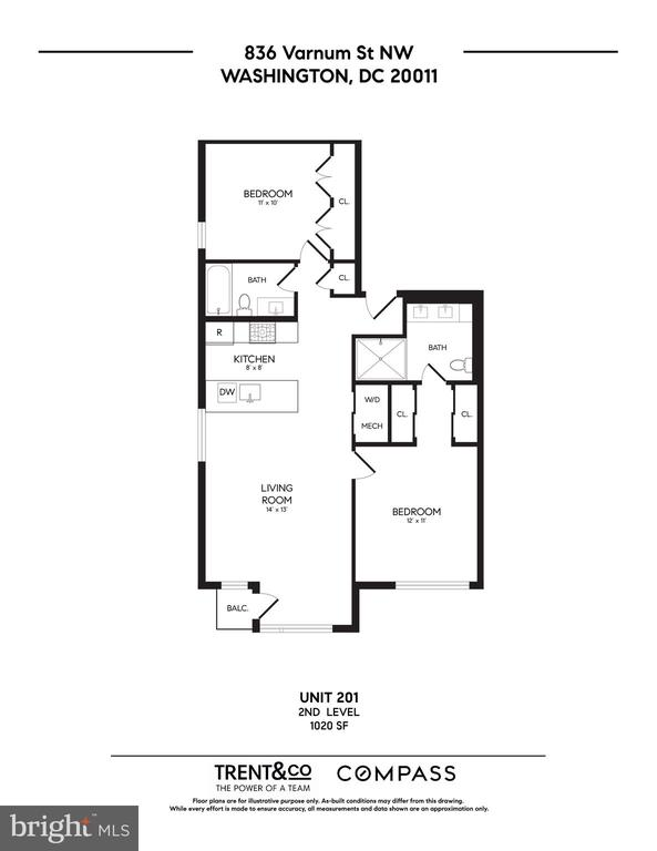 Floor plan of unit 201 - 836 VARNUM ST NW #201, WASHINGTON