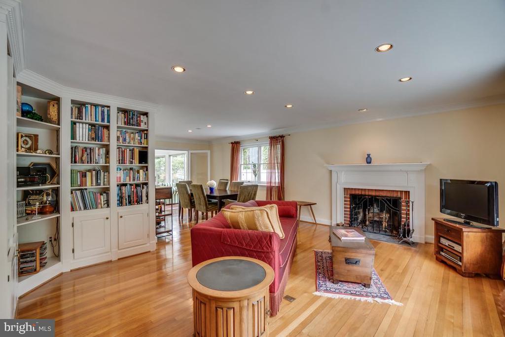 Living room: refinished hardwood floors, wood FP - 5824 BRADLEY BLVD, BETHESDA