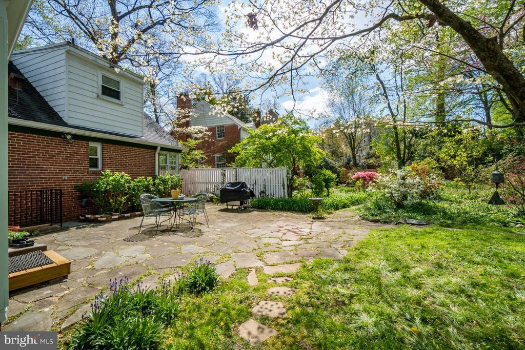 Backyard view, trees, flowering plants - 5824 BRADLEY BLVD, BETHESDA