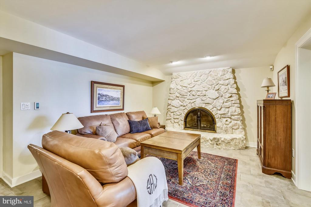 LL Family room w/ stone fireplace & deck access. - 236 MOUNTAIN LAUREL LN, ANNAPOLIS