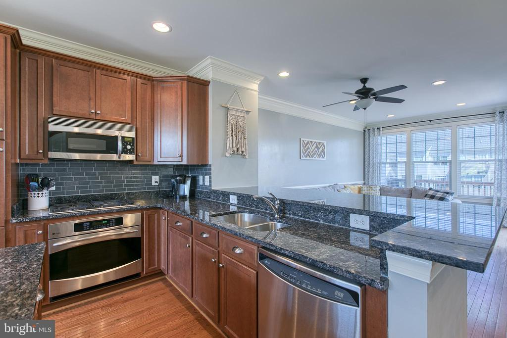 Gourmet kitchen has gas range and SS appliances. - 214 WOODSTREAM BLVD, STAFFORD