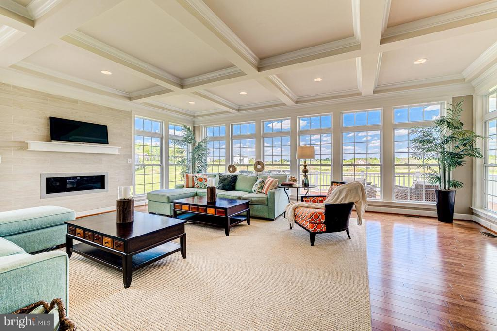 Coffered ceiling and focal gas fireplace - 14732 RAPTOR RIDGE WAY, LEESBURG