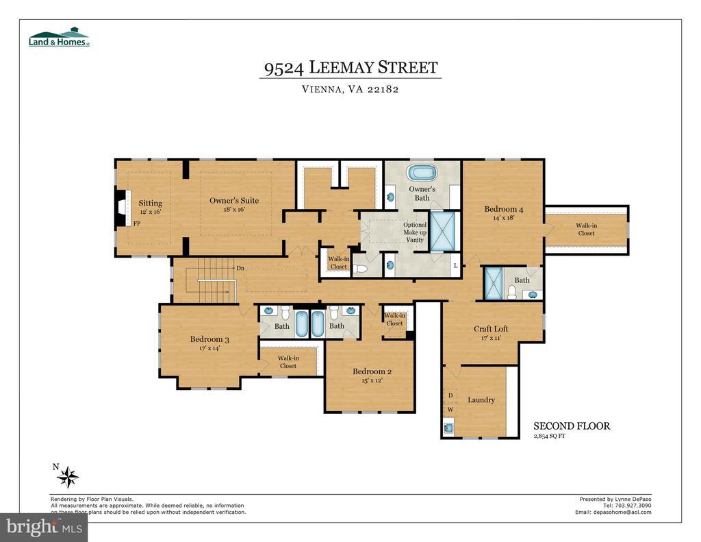 Bedroom Level Floorpan - 9524 LEEMAY ST, VIENNA