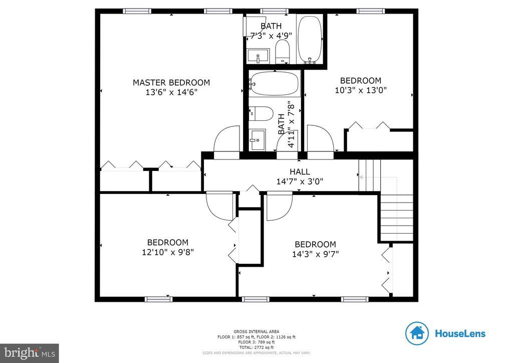 Upper Level Floor Plan - 16194 SHEFFIELD DR, DUMFRIES