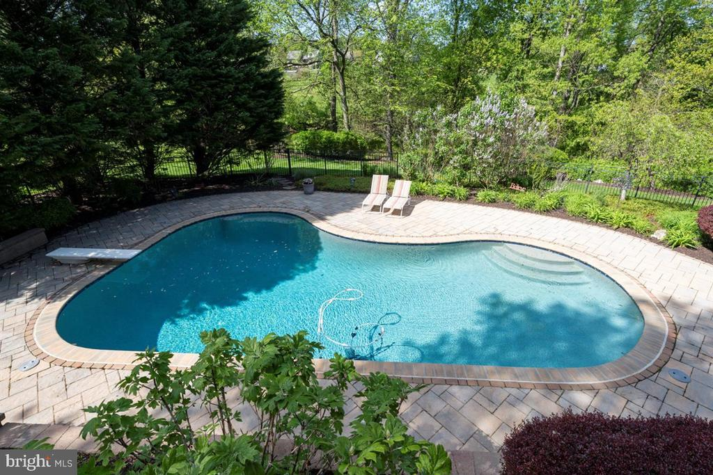 View of pool and back woods where stream crosses - 6072 WHITE FLINT DR, FREDERICK