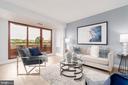 Living room opens onto double balcony - 2301 N ST NW #517, WASHINGTON