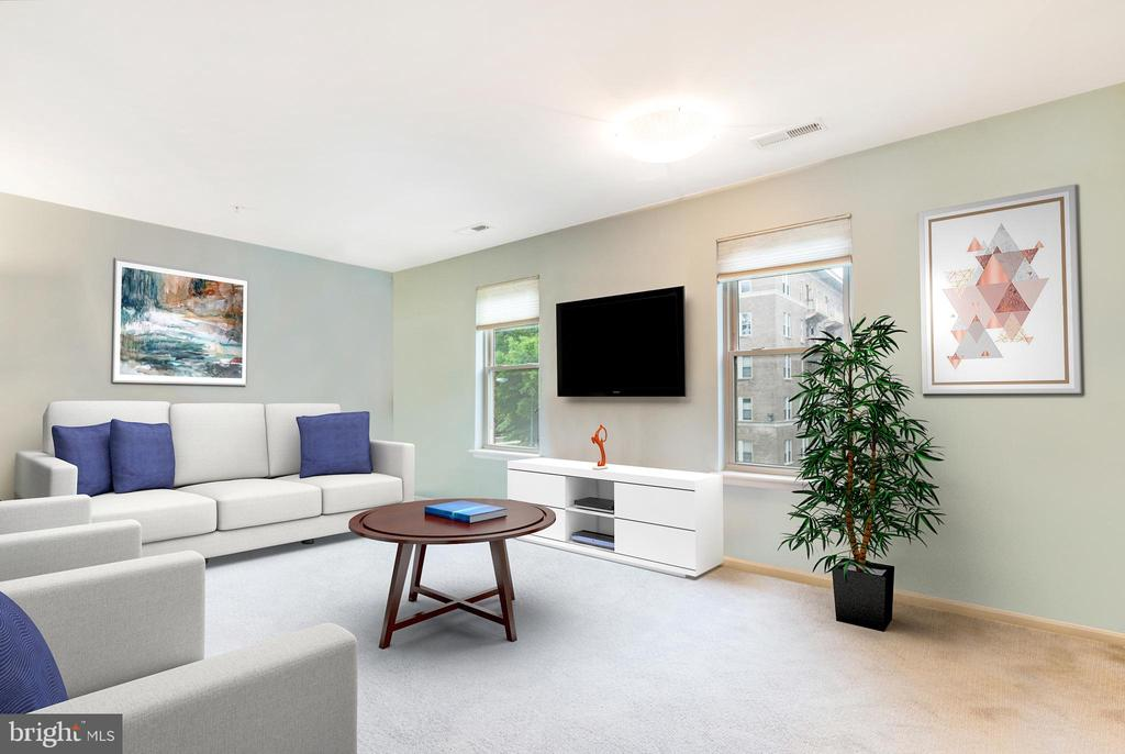 LIving Room (w/Virtual Staging) - 1343 CLIFTON ST NW #302, WASHINGTON