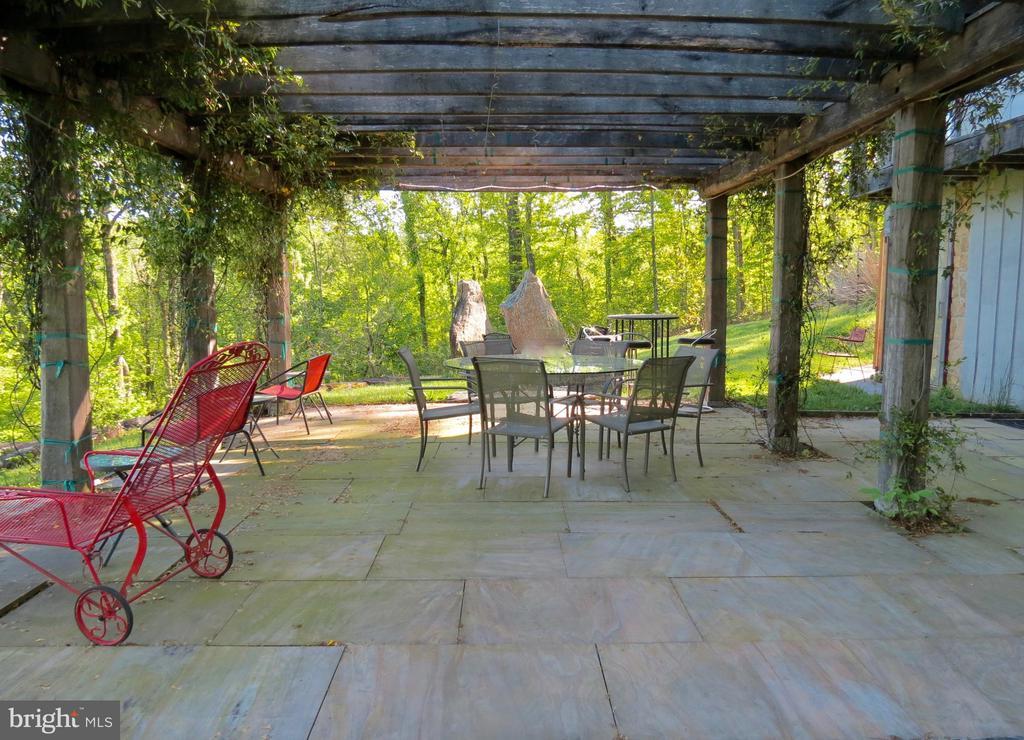 Stone patio under the jasmine - 140 HORSESHOE HOLLOW LN, WASHINGTON