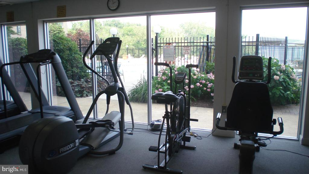Cardio machines look at the river - 501 SLATERS LN #703, ALEXANDRIA