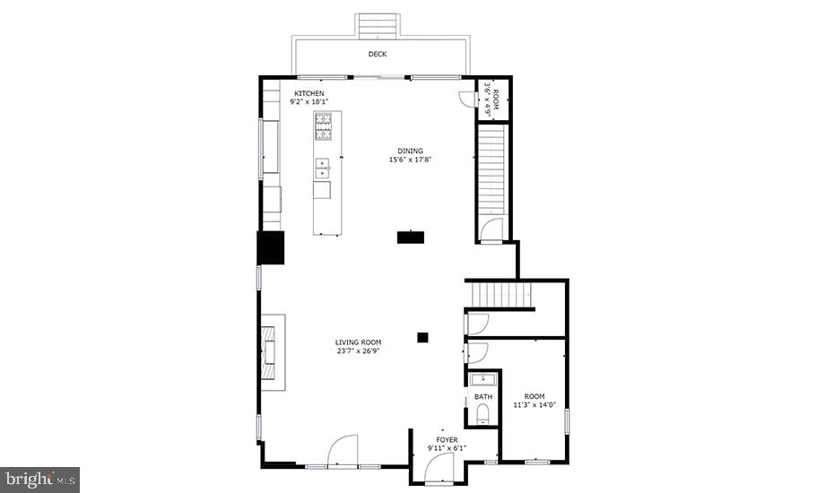 Main Level Floorplan - 8728 RIDGE RD, BETHESDA