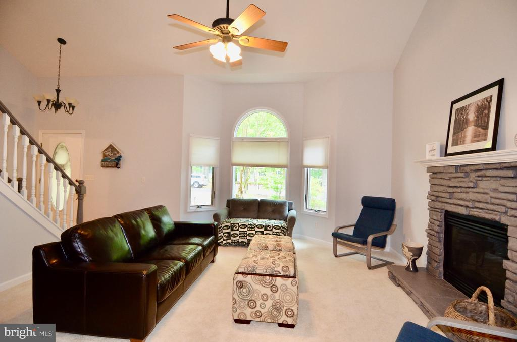 Fireplace with high ceilings - 214 BIRDIE RD, LOCUST GROVE