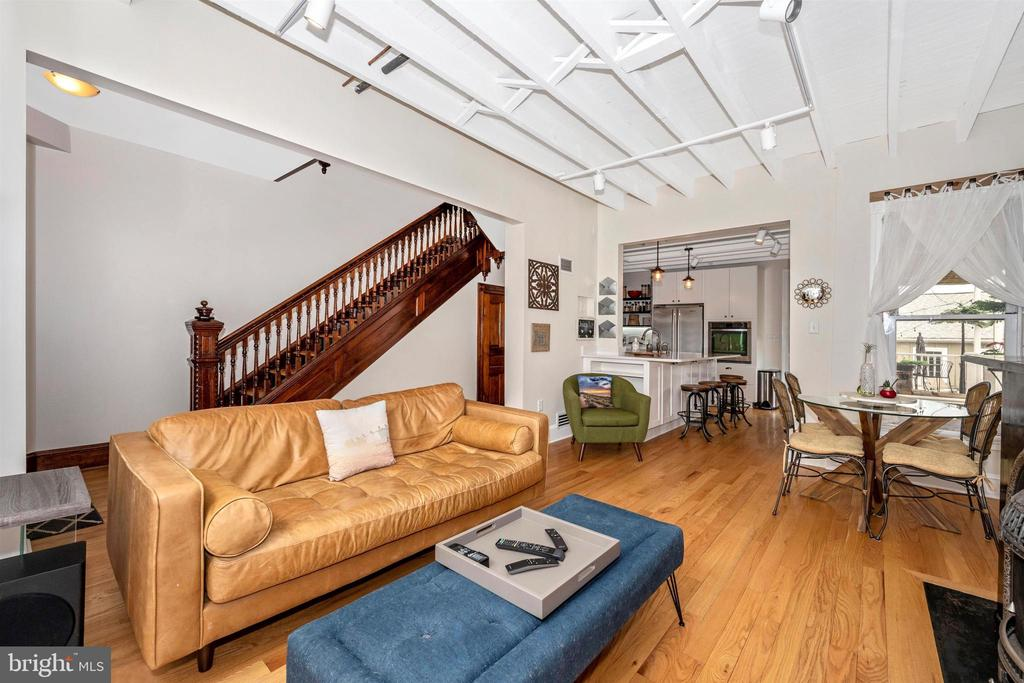 Living Room offers wood floors & track lighting - 18 N WISNER ST, FREDERICK