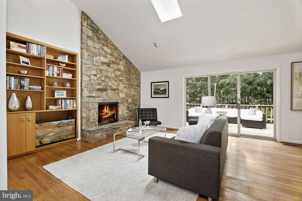 Living Room with Fireplace - 6203 WINSTON DR, BETHESDA