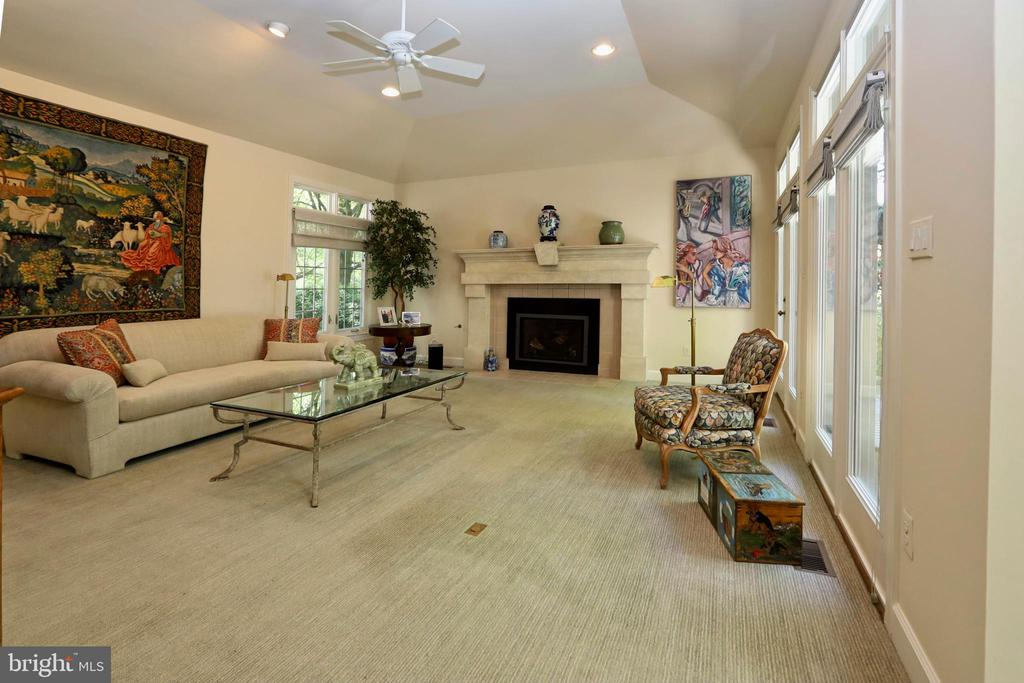 Family room with gas fireplace+tray ceiling - 11331 BRIGHT POND LN, RESTON