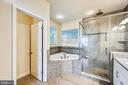 Custom tiled bath with spa tub and separate shower - 3428 COHASSET AVE, ANNAPOLIS