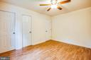 New flooring and ceiling fan in bedroom 3 - 10905 DEERFIELD DR, FREDERICKSBURG