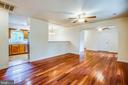 Hardwood floors in the living /dining area - 10905 DEERFIELD DR, FREDERICKSBURG